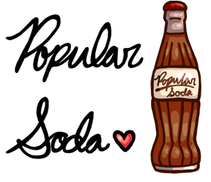 PopularSoda logo with bottle and heart