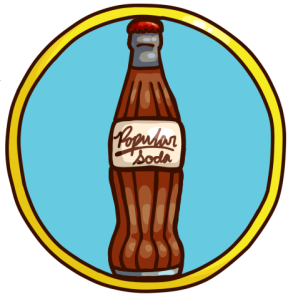 Blue PopularSoda bottle with yellow border